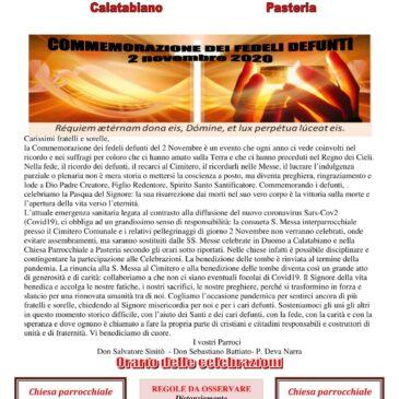 Commemorazione dei fedeli defunti  2 novembre 2020